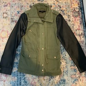 Military jacket w/ leather sleeves